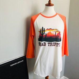 Lularoe White & Orange Randy Road Tripper Shirt